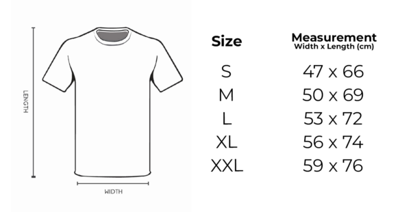 Project Dive Roll T-shirt Size Chart