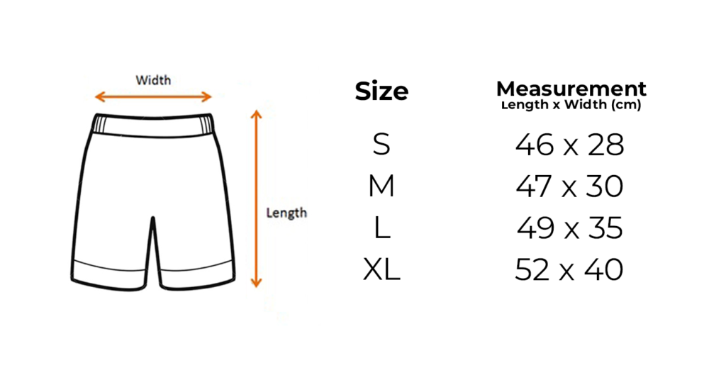 Project Dive Roll Shorts Size Chart